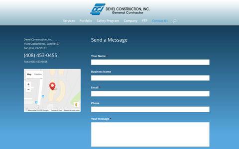 Screenshot of Contact Page develconstruction.com - Contact - Devel Construction - captured Nov. 24, 2016