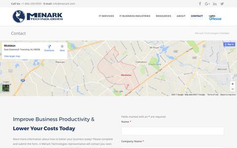 Screenshot of Contact Page menark.com - Contact Menark Technologies - captured Oct. 18, 2017