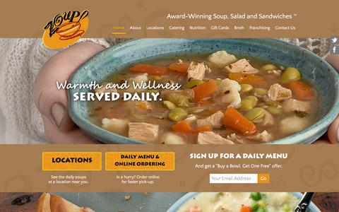 Screenshot of Home Page zoup.com - Zoup! - Award-Winning Soup, Salad and Sandwiches - captured Feb. 2, 2016