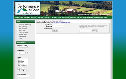 Screenshot of Login Page vthomes.com - The Performance Group - Killington Real Estate - captured Nov. 2, 2016