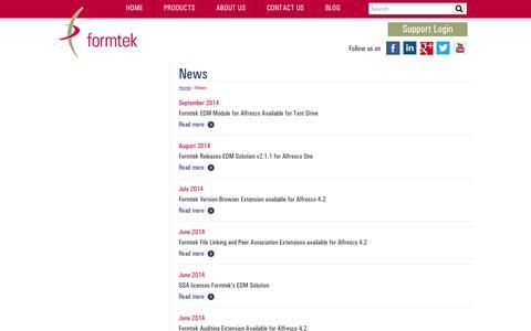 Screenshot of Press Page formtek.com - News | formtek - captured Oct. 27, 2014