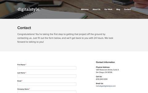 Screenshot of Contact Page getdigitalstyle.com - Contact - digitalstyle - captured Nov. 3, 2014