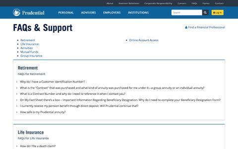 FAQs | Prudential Financial