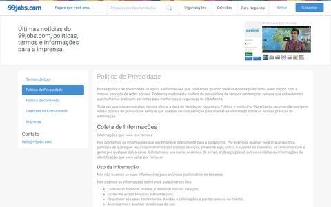 Screenshot of Privacy Page 99jobs.com - Política de Privacidade | 99jobs.com - captured June 11, 2017