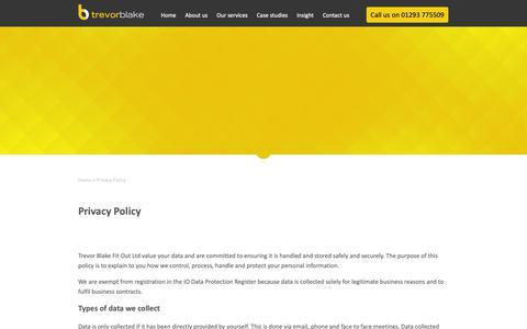 Screenshot of Privacy Page trevorblake.co.uk - Privacy Policy - Trevor Blake - captured Oct. 20, 2018