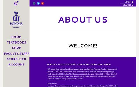 Screenshot of About Page Contact Page Hours Page wsubookstore.com - About Us | Winona State University Bookstore - captured June 30, 2018