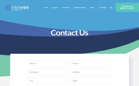 Screenshot of Contact Page interwiregroup.com - Contact a Sales Professional with Wire Distributor InterWire Group - captured Sept. 19, 2018