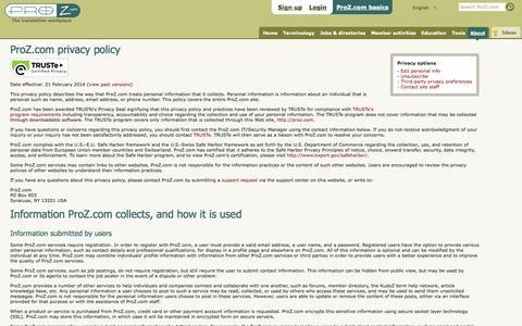 ProZ.com privacy policy