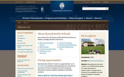 Screenshot of About Page ksbe.edu - About us | Kamehameha Schools - captured Nov. 3, 2018