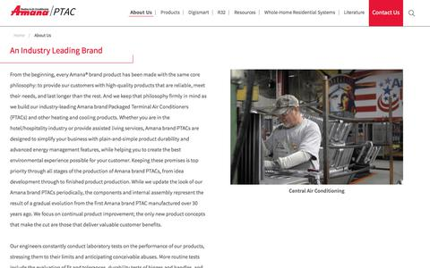 Screenshot of About Page amana-ptac.com - Packaged Terminal Air Conditioning & Heating Systems - captured March 2, 2018