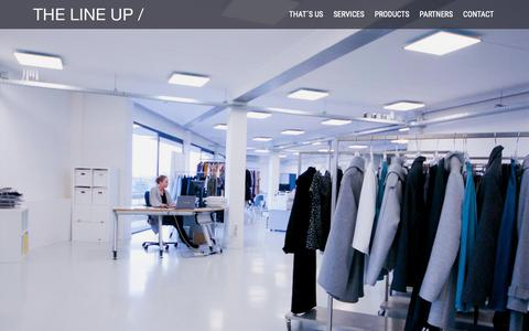Screenshot of Home Page Contact Page Products Page Services Page thelineup.eu - The Line Up - Official Website - Fashion company, Styling, Production, Finance - captured Oct. 20, 2018