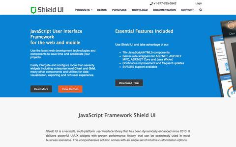 Screenshot of Home Page shieldui.com - jQuery Plugins and JavaScript UI Framework   Shield UI - captured Feb. 10, 2019