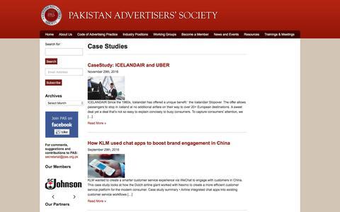 Screenshot of Case Studies Page pas.org.pk - Pakistan Advertisers Society|Archive|Case Studies - captured Sept. 26, 2018