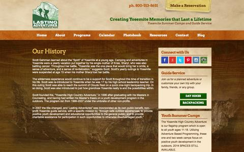 Screenshot of About Page lastingadventures.com - Yosemite Guide Service - History of Lasting Adventures - captured Sept. 29, 2014