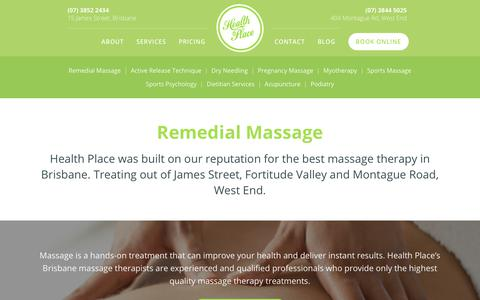 Screenshot of Pricing Page healthplace.com.au - Remedial Massage Therapy in Brisbane & West End | Health Place - captured Nov. 4, 2018