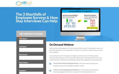 Screenshot of Landing Page hrsoft.com - 3 Shortfalls of Employee Surveys & How Stay Interviews Can Help - captured Sept. 21, 2018