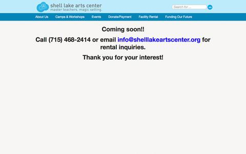 Screenshot of Pricing Page shelllakeartscenter.org - Shell Lake Arts Center Facility Rental Pricing - captured July 9, 2018