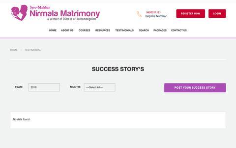 Screenshot of Testimonials Page nirmalamatrimony.com - Nirmala Matrimony | Diocese of Kothamankalam Matrimony Service-Success Stories in Syro-Malabar Matrimony - Catholic Matrimony, Christian Matrimony, Kerala Catholic Matrimonial - captured Jan. 31, 2018