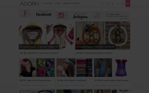 Screenshot of Home Page toadorn.com - Daily Boutique Deals | ToAdorn.com - captured Sept. 19, 2014
