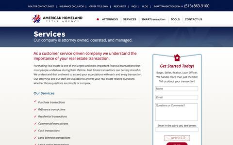 Screenshot of Services Page americanhomelandtitle.com - Home Owners Title Insurance - Services | American Homeland Title - captured Oct. 4, 2014
