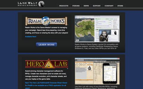Screenshot of Home Page Products Page wolflair.com - Lone Wolf Development - captured Sept. 23, 2014