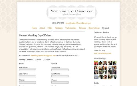 Screenshot of Contact Page weddingdayofficiant.com - Contact Wedding Officiant | Wedding Day Officiant | Wedding Officiant | West Chicago Suburbs - captured June 12, 2017