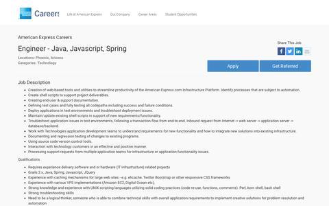Screenshot of Jobs Page americanexpress.com - Apply For American Express Engineer - Java, Javascript, Spring job - Technology - Phoenix, Arizona - captured Oct. 26, 2016