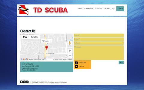 Screenshot of Contact Page tdscuba.com - Tdscuba | Contact - captured Nov. 17, 2018