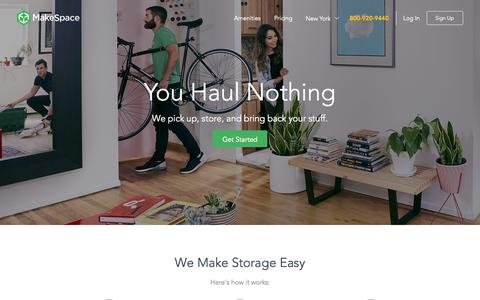 Screenshot of Home Page makespace.com - MakeSpace | Never visit a storage unit again - captured Oct. 16, 2015