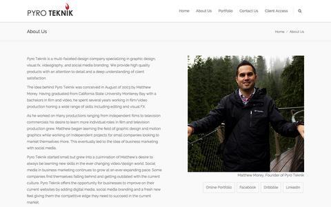 Screenshot of About Page pyroteknikdesign.com - Pyro Teknik |   About Us - captured Feb. 2, 2016