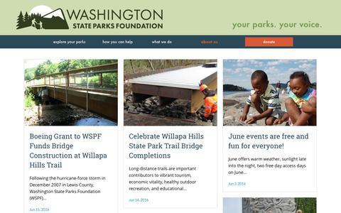 Screenshot of Press Page wspf.org - News   Washington State Parks Foundation - captured June 21, 2016