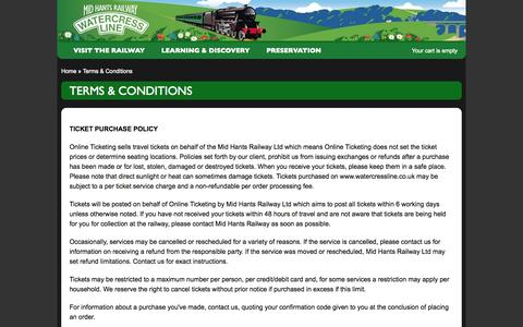 Screenshot of Terms Page watercressline.co.uk - Terms & Conditions « Mid Hants Railway Ltd 'Watercress Line' - captured Sept. 22, 2014