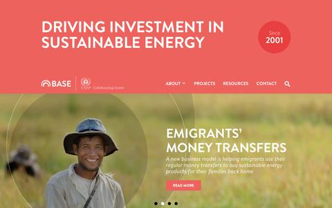 Screenshot of Home Page energy-base.org - BASE – Basel Agency for Sustainable Energy - captured Oct. 3, 2014