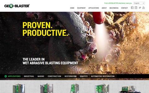 Screenshot of Home Page geo-blaster.com - GEOBLASTER® Equipment - captured Jan. 23, 2015