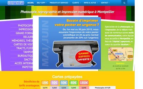 Screenshot of Home Page selfcopy.net - Self Copy - Photocopies et impression numérique à Montpellier - captured Aug. 16, 2015