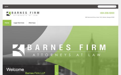Screenshot of Home Page barnesattorneys.com - Barnes Firm LLP | Family Law and Real Estate Attorneys in Atlanta, Georgia - captured Oct. 5, 2014