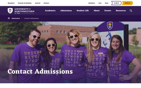Screenshot of Contact Page unwsp.edu - University of Northwestern, St. Paul | Questions? Contact Admissions… - captured July 14, 2019