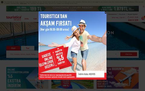 Screenshot of Home Page touristica.com.tr - Tatil - Tatil Fırsatları - Otel ve Tur Rezervasyonu | Touristica - captured Sept. 22, 2018