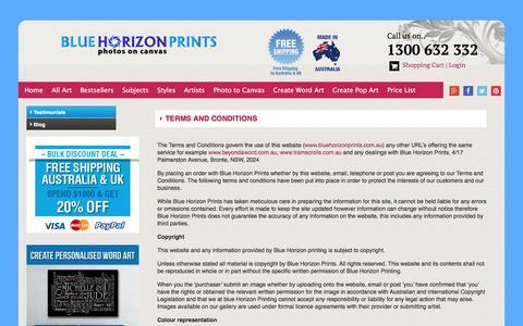 Screenshot of Terms Page bluehorizonprints.com.au - Terms & Conditions for Blue Horizon Prints on Canvas Australia - captured June 1, 2017