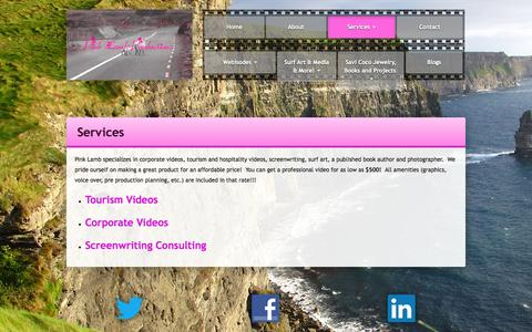 Screenshot of Services Page pinklamb.com - Pink Lamb Productions - Services - Tourism, Corporate, Screenwriting - captured Oct. 2, 2014