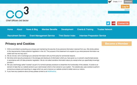 Screenshot of Privacy Page co3.bz - Privacy and Cookies | CO3 - captured July 9, 2017