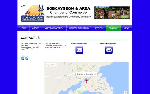 Screenshot of Contact Page bobcaygeon.org - Bobcaygeon Chamber of Commerce | CONTACT - captured April 26, 2017