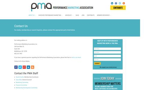 Screenshot of Contact Page thepma.org - Contact Us | The PMA - captured Jan. 19, 2016