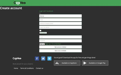 Screenshot of Signup Page ceevee.com - Book people for your projects | CeeVee - captured Sept. 23, 2014