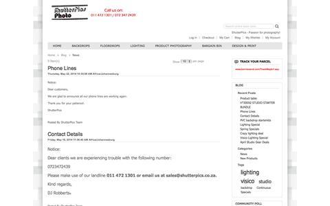 Screenshot of Press Page shutterpics.co.za - News - captured Oct. 26, 2014