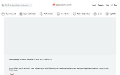 Screenshot of Contact Page musement.com - Contact us | musement - captured Oct. 11, 2017
