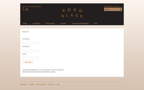 Screenshot of Signup Page kokoblack.com - Koko Black newsletter for the latest chocolate news and new store opening information | Koko Black - captured Jan. 19, 2016