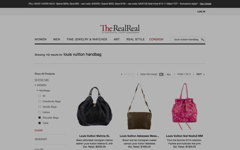 Screenshot of Products Page therealreal.com - louis vuitton handbag Search Results, Page 1 | The RealReal - captured Sept. 12, 2014