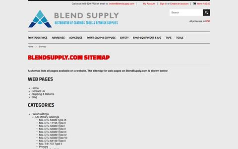 Screenshot of Site Map Page blendsupply.com - BlendSupply.com Sitemap - captured Sept. 30, 2014
