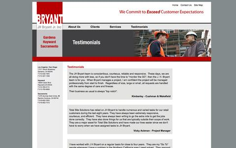 Screenshot of Testimonials Page jhbryant.com - J.H. Bryant Construction » - captured Nov. 18, 2016